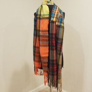 Accessories - Multicolor Oversized Plaid Blanket Scarf